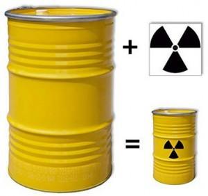 gelbes Stahlfass + Aufkleber radioaktiv!