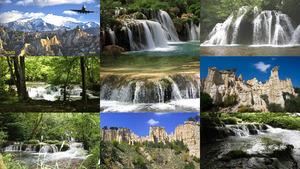 Wasserfälle und Felsen Frankreich.E.