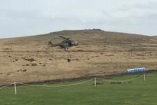 Helikopter pustet Dixi-Klos weg