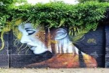 Geniales Graffiti mit Pflanzen in Kombi