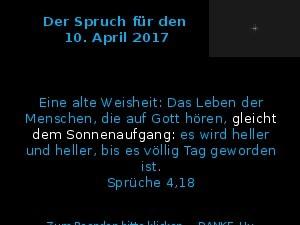 Der Spruch fuer 10.04.2017