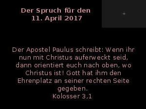 Der Spruch fuer 11.04.2017