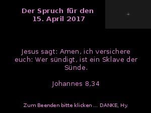 Der Spruch fuer 15.04.2017