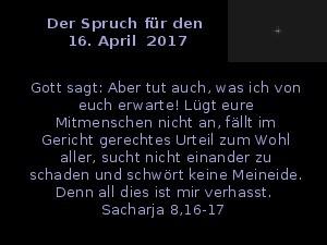 Der Spruch fuer 16.04.2017