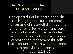 Der Spruch fuer 17.04.2017