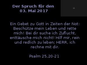 Der Spruch fuer 03.05.2017