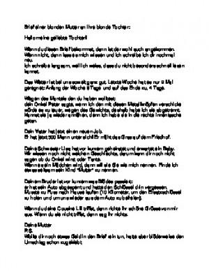 brief einer blonden mutter an ihre blonde tochter
