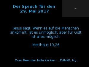 Der Spruch fuer 29.05.2017
