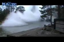 Blitz trifft auf einen Fluß