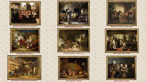 Schulen auf alten Gemälden