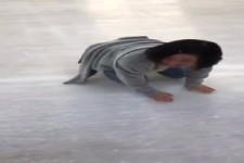 Ziemlich rutschig auf dem Eis
