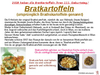 111 Jahre Bratkartoffeln