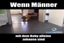 Männer allein mit dem Baby