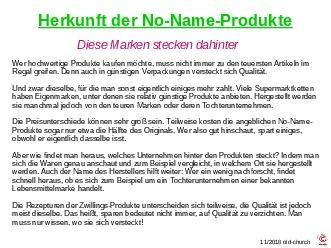 Herkunft der No Name Produkte