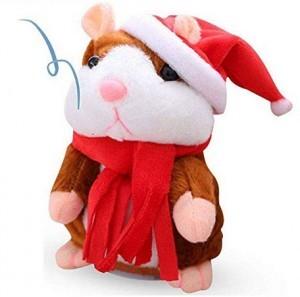 Sprechender Plüsch-Hamster mit Weihnachtsmütze!