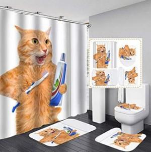 Duschvorhang- und Badvorleger-Set mit Katzenmotiv!