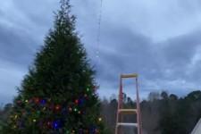 Lichterkette mit der Drohne um den Baum wickeln