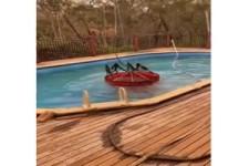Wasser aus dem Pool holen