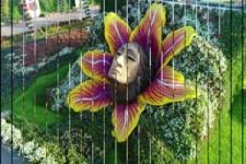 Schöne Figuren aus Blumen und Gras