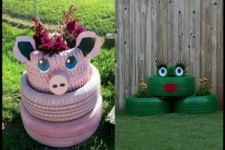 mit alten Reifen den Garten dekorieren